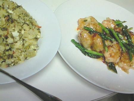 海老チリマヨと高菜炒飯